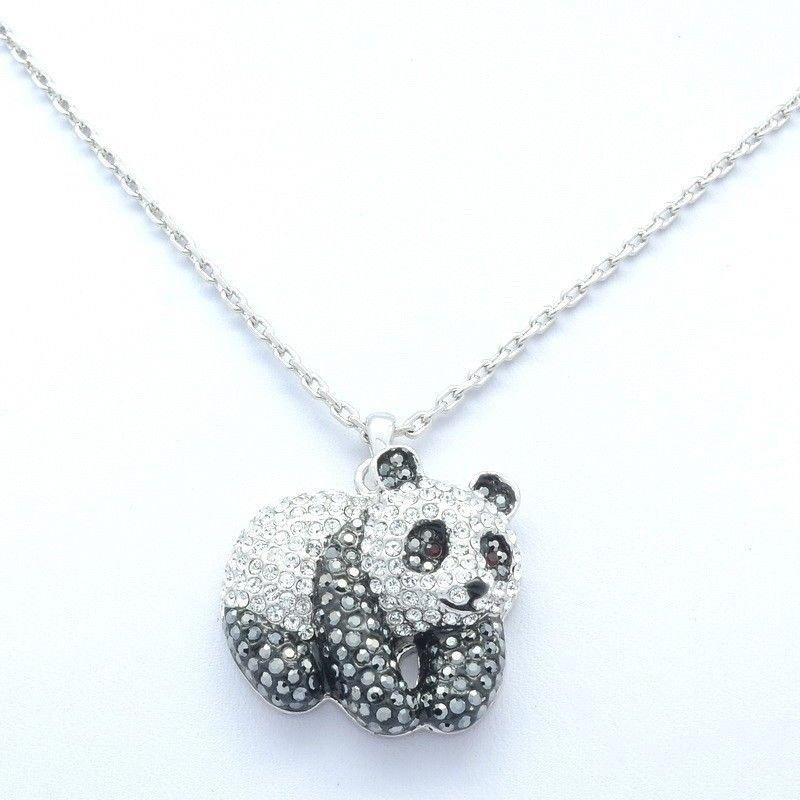 Swarovski Crystals Gorgeous Silver Tone Panda Pendant Charm Necklace SN3127-1