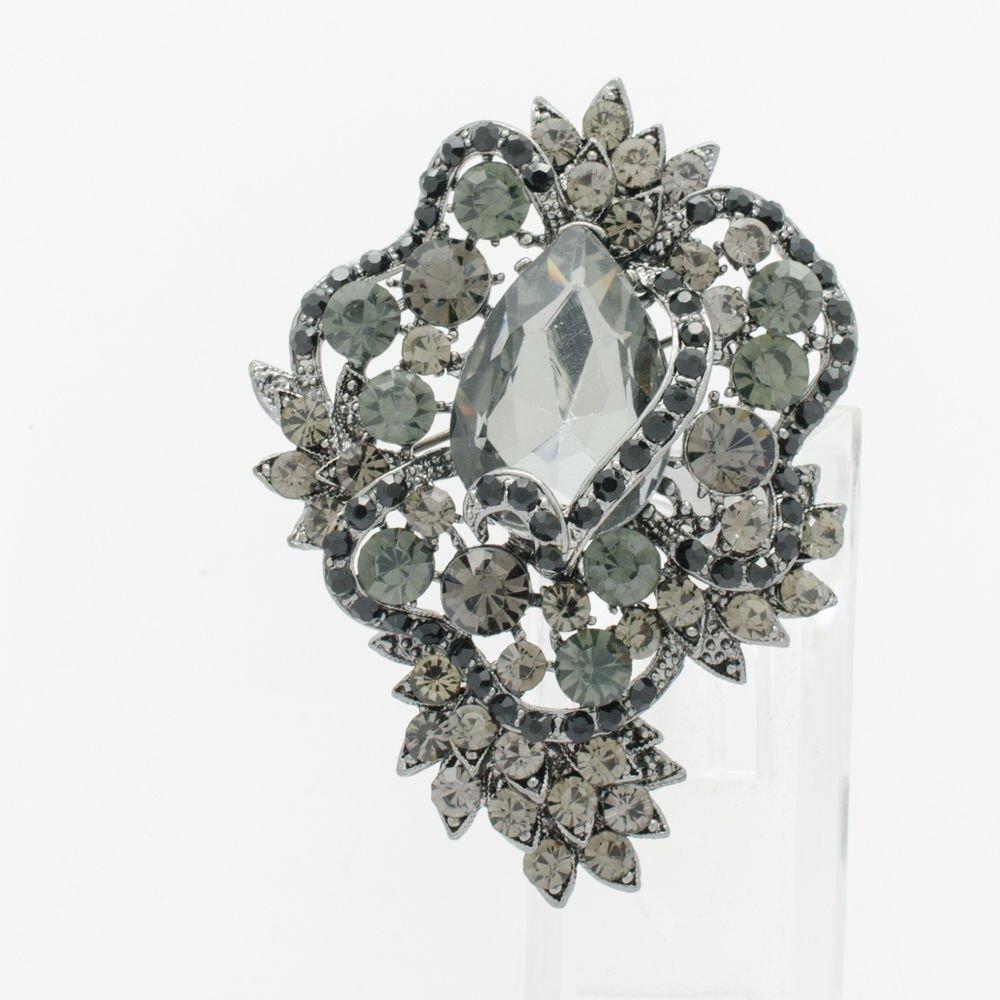 """Delicate Black Flower Floral Brooch Broach Pin 3.0"""" Rhinestone Crystal Drop 6039"""