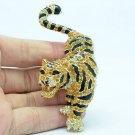 Rhinestone Crystals Topaz Tigress Tiger Brooch Pin Jewelry Accessories FA3196