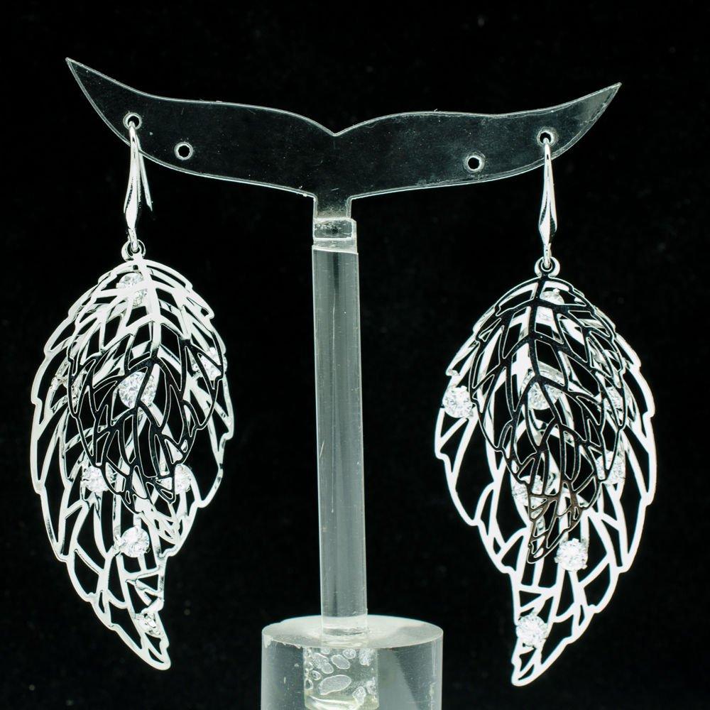 Clear Duplex Leaf Cutout Pierced Earring Rhinestone Crystal Women Jewelry 51029