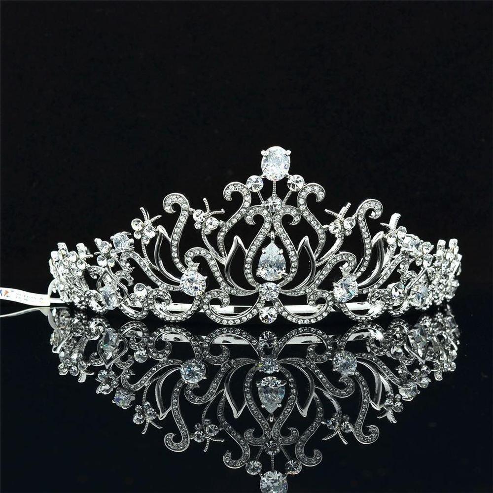 Pretty Wedding Bridal Floral Butterfly Tiara Crown Clear Swarovski Crystals