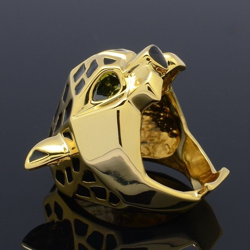 High Quality 18K GB Leopard Panther Cocktail Ring w/ Green Eyes Size 6,7,8,9,10