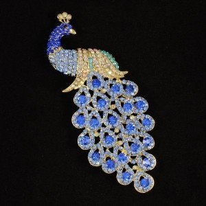"4.9"" Bird Peacock Brooch Pin Blue Rhinestone Crystal Peafowl"