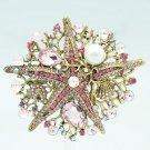 Beautiful Pink Starfish Brooch Broach Pin Rhinestone Crystal Women Jewelry  6412