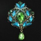"Beautiful Drop Green Flower Bouquet Brooch Pin 3.5""W/ Rhinestone Crystal 4082"