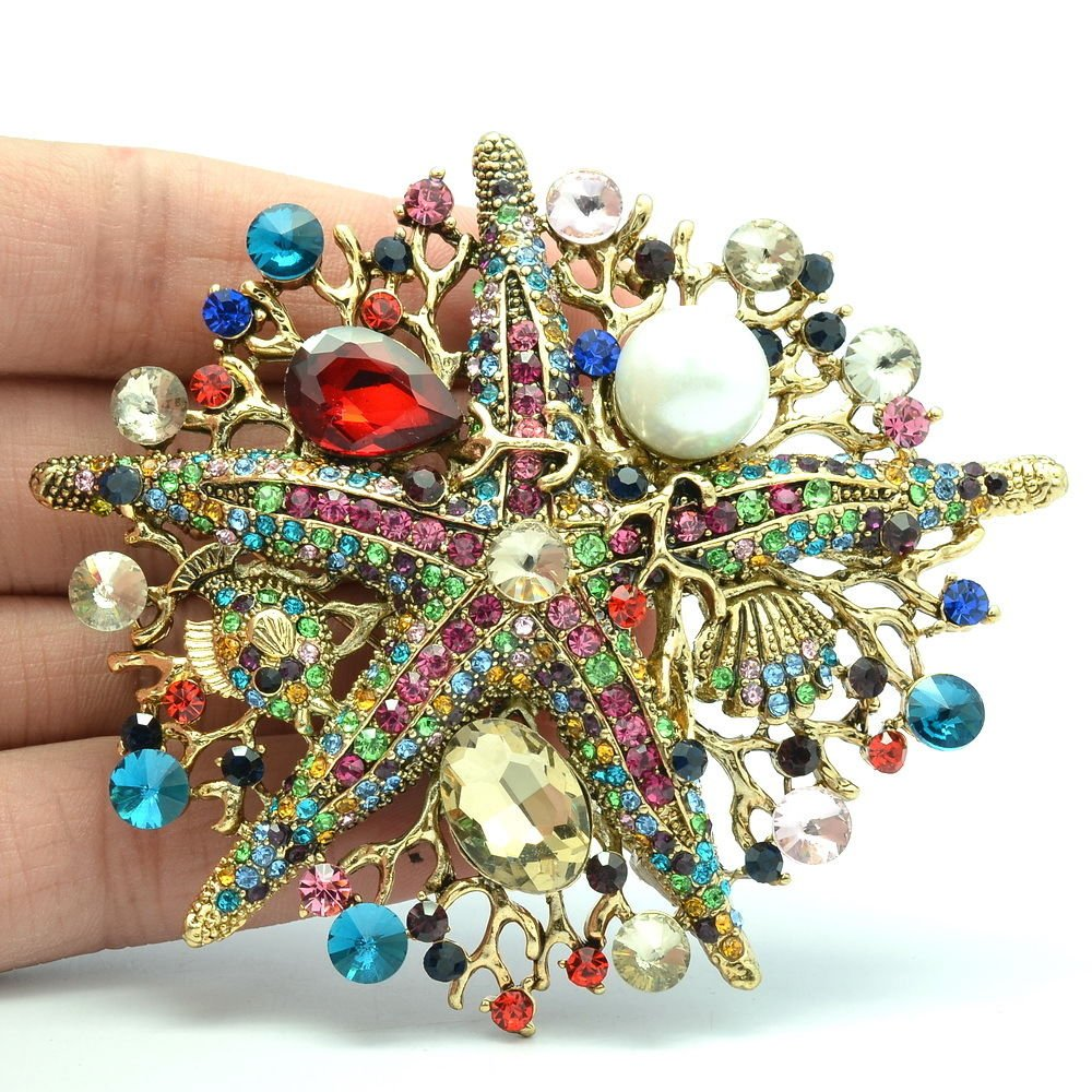Multi-color Starfish Brooch Broach Pin Rhinestone Crystal For Women Jewelry 6412