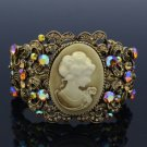 Vintage Rhinestone Crystals Brown Relief Cuff Bracelet Bangle