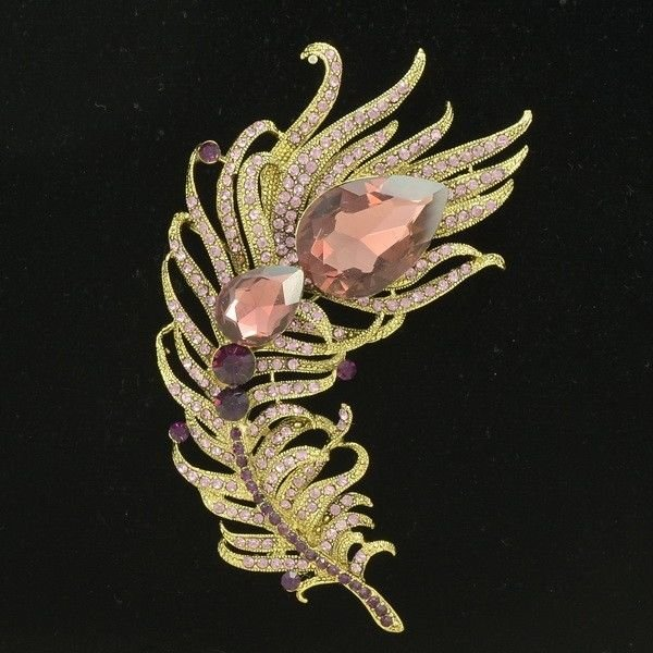 Peacock Feather Brooch Broach Pins For Women Purple Drop Rhinestone Crystal 5038