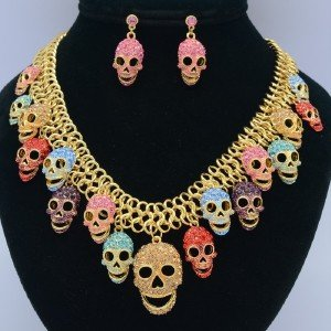 Vintage Skeleton Skull Necklace Earrings Jewelry Sets Mix Rhinestone Crystals