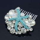 Bridal Jewelry Blue Starfish Hair Comb Accessories Rhinestone Crystals 4995