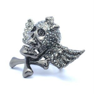 H-Quality Bow Wings Skull Cocktail Ring Size 7# Black Swarovski Crystals
