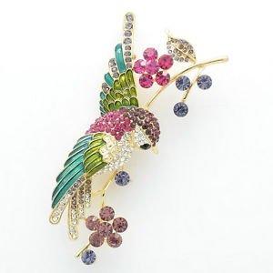 Mix Rhinestone Crystals Gold Tone Hummingbird Bird Flower Brooch Broach Pin 6008