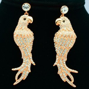 High Quality Gold Dangle Pierced Bird Parrot Earring Clear Swarovski Crystals