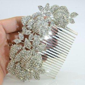 Wedding Leaves 3 Rose Flower Hair Comb Tiara Rhinestone Crystals for Bridal 0506