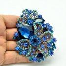 Charm Orchid Flower Teardrop Blue Rhinestone Crystal  Brooch Pin Pendant 2274