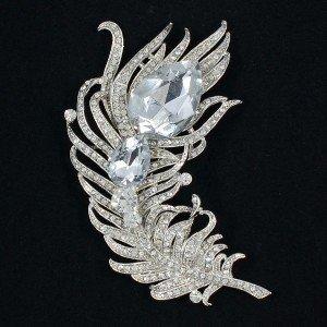 """Big Clear Feather Brooch Broach Pins Women Jewelry 4.3"""" Rhinestone Crystals 5038"""