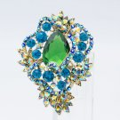 "Gorgeous Green Drop Flower Floral Brooch Broach Pin 3.0"" Rhinestone Crystal 6039"
