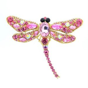 "Trendy Animal Pink Dragonfly Brooch Pin 3.7"" w/ Rhinestone Crystals"