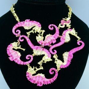 Rhinestone Crystals 8 Sea Horse Necklace Pendant w/ Pink Enamel
