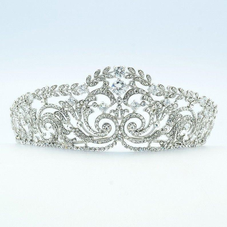 Brand New Swarovski Crystals Clear Leaf Flower Bride Bridal Wedding Tiara Crown