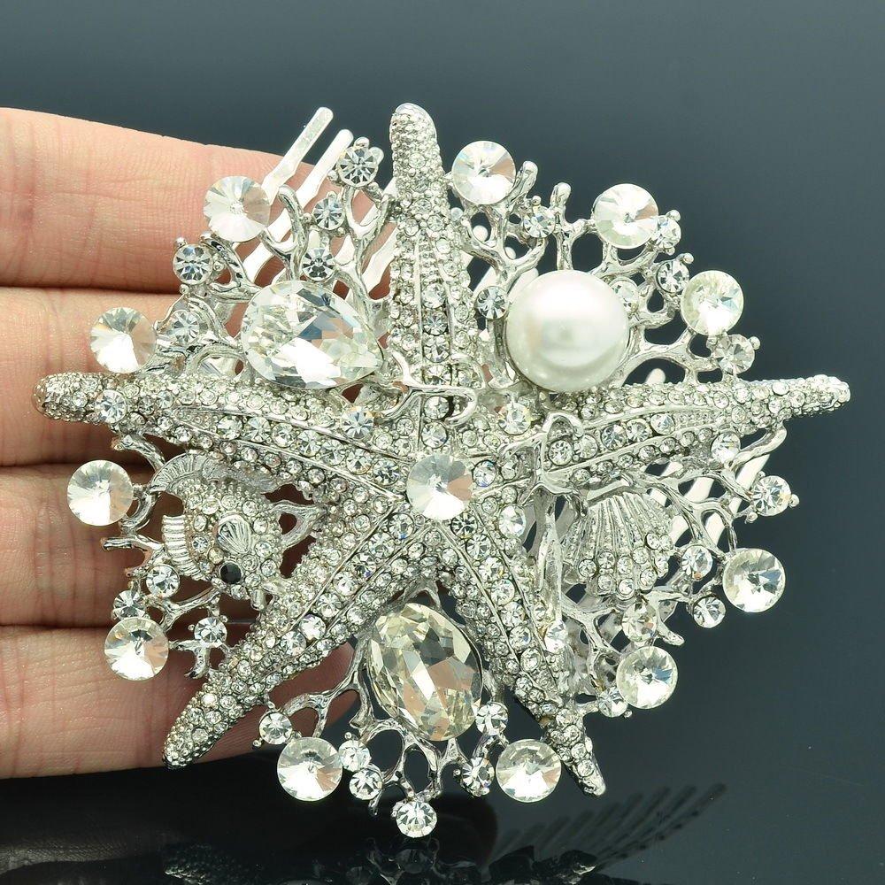 Faux Pearl Starfish Hair Comb Head Wedding Jewelry Clear Rhinestone Crystal 6412