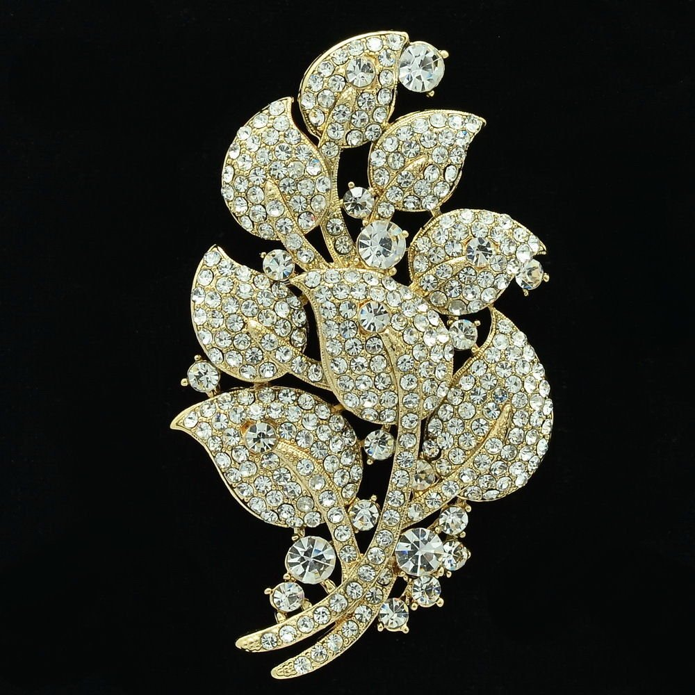 LIfelike Leaf Brooch Broach Pin Rhinestone Crystal For Women Spring Jewelry 4235