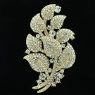 LIfelike Leaf Brooch Broach Pin Rhinestone Crystal For Women Spring Jewelry 4235