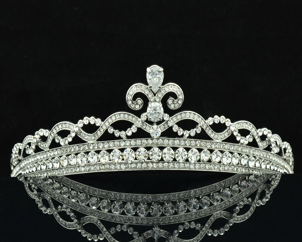 Compact Flower Tiaras Crown Wedding Bridal Hair Clear Rhinestone Crystals 41332R