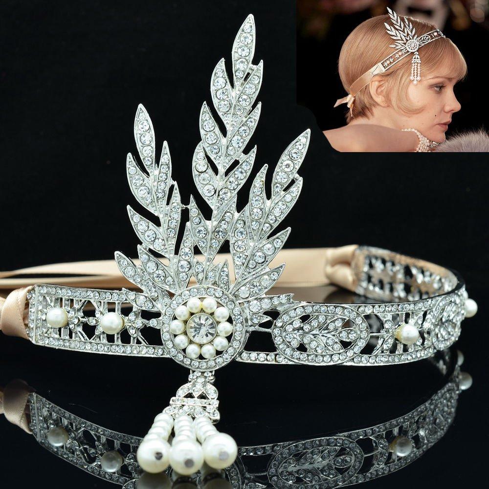 Wedding Bridesmaid Flower Tiara Crown Rhinestone Crystals The Great Gatsby