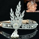 Wedding Bridesmaid Flower Tiara Crown Rhinestone Crystals The Great Gatsby