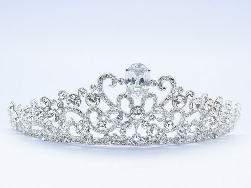Princess Wedding Clear Flower Tiara Crown Headbands Swarovski Crystals SHA8588
