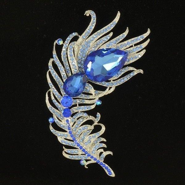 Peacock Feather Brooch Broach Pins For Women Blue Drop Rhinestone Crystal 5038