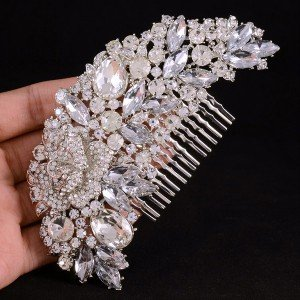 Bridesmaid Clear Flower Hair Comb Bridal Accessories Wedding Rhinestone Crystal