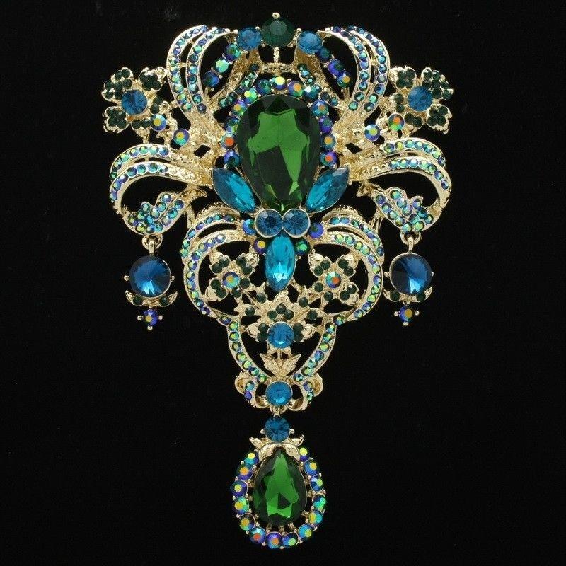"""Retro Gold Tone Flower Brooch Broach Pins 5.1"""" W/ Green Rhinestone Crystals 4042"""