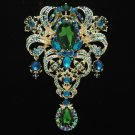 "Retro Gold Tone Flower Brooch Broach Pins 5.1"" W/ Green Rhinestone Crystals 4042"