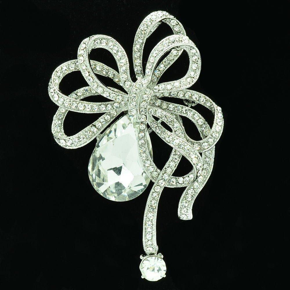 Vintage Wedding Bowknot Brooch Pin Rhinestone Crystal Women Costume Jewelry 6414