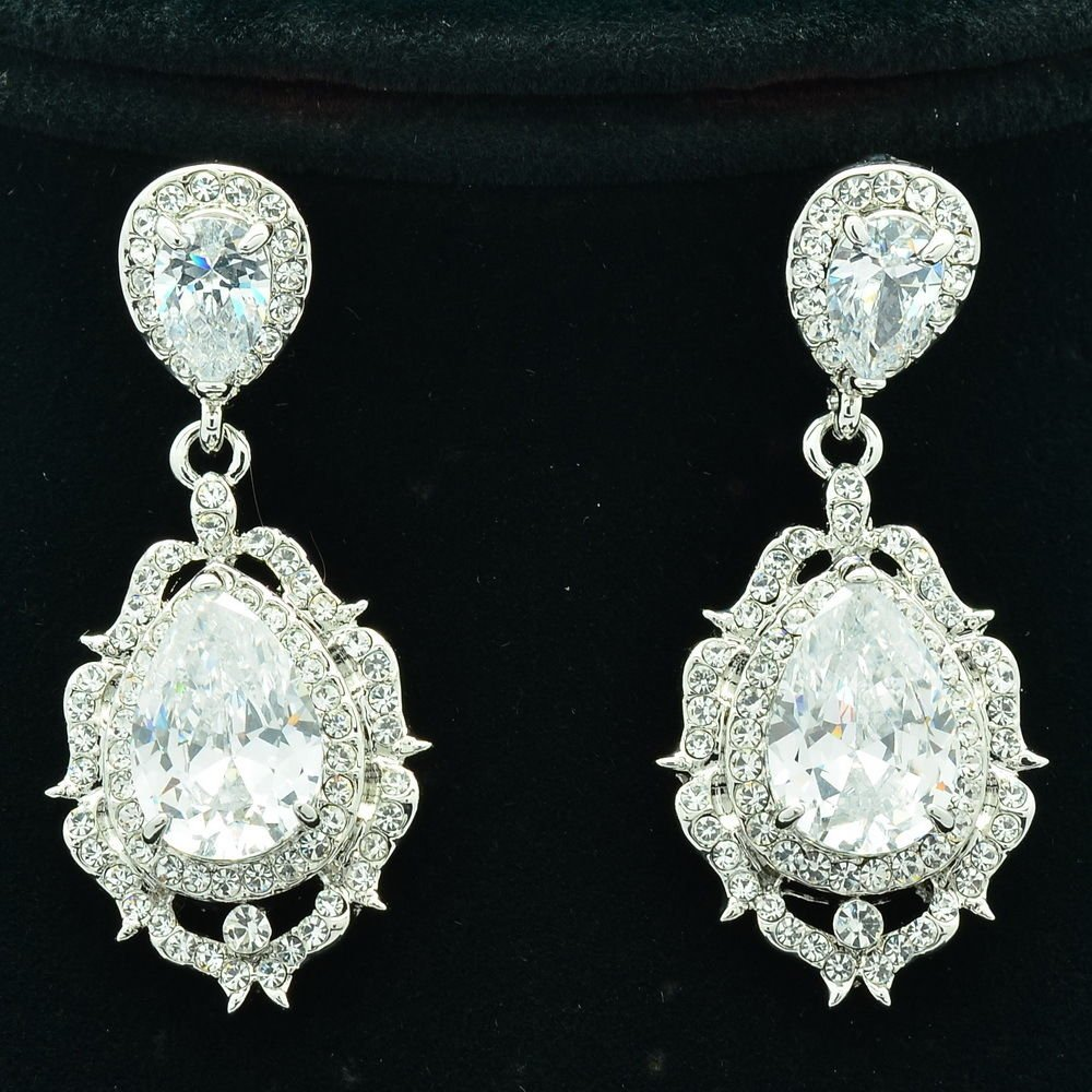 Wedding Drop Dangle Flower Pierced Earring Zircon Rhinestone Crystals 20671