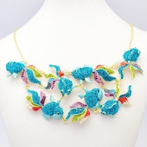 Unique Cute 7 Goldfish Fish Necklace Pendant Jewelry Blue Rhinestone Crystals
