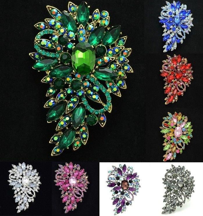 Vintage Jewelry Flower Floral Brooch Broach Pins Rhinestone Crystal 9 Color 4080