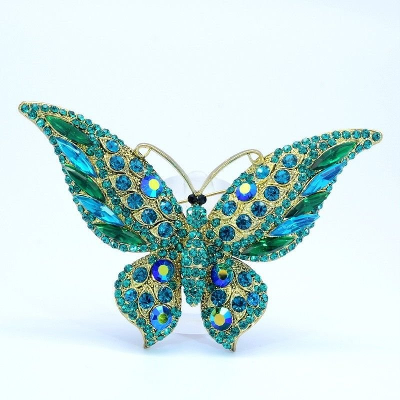 Vintage Green Rhinestone Crystals Scalewing Butterfly Brooch Pins Jewelry 4538