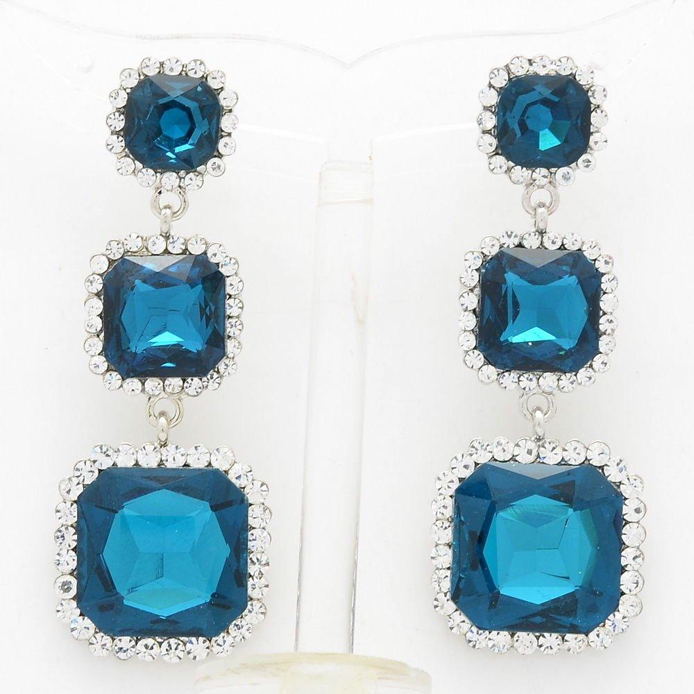 Rhinestone Crystal Party Three Sea Blue Square Drop Pierced Earring Women 141525