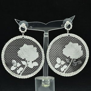 Sliver Round Rose Bouque Cutout Pierced Earring Rhinestone Crystal Jewelry 27674