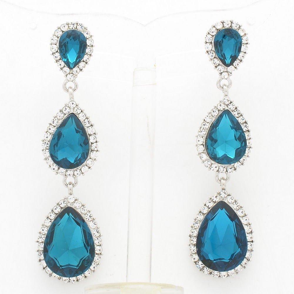Rhinestone Crystals Sea Blue Water Drop Pierced Dangle Earrings for Women 139520