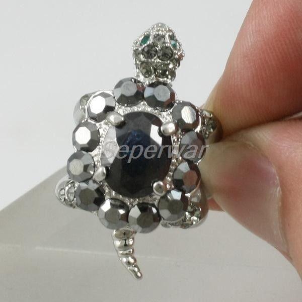 Swarovski Crystals Luxury Black Turtle Tortoise Cocktail Ring Sz 6# SR1722