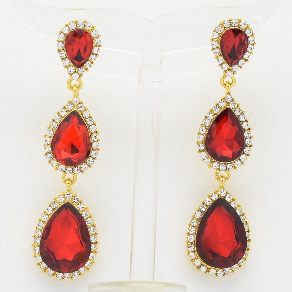 Party Rhinestone Crystals Red Water Drop Pierced Earring Dangle Gold Tone 139520