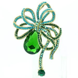 Vintage Flower Bowknot Brooch Pins Rhinestone Crystals Women's Prom Jewelry 6414