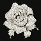 Rhinestone Crystal Clear Rose Flower Brooch Pin Bouquet Wedding Birdal FB1077