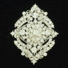 Chic Flower Brooch Pin Clear Rhinestone Crystals Birdal 3797