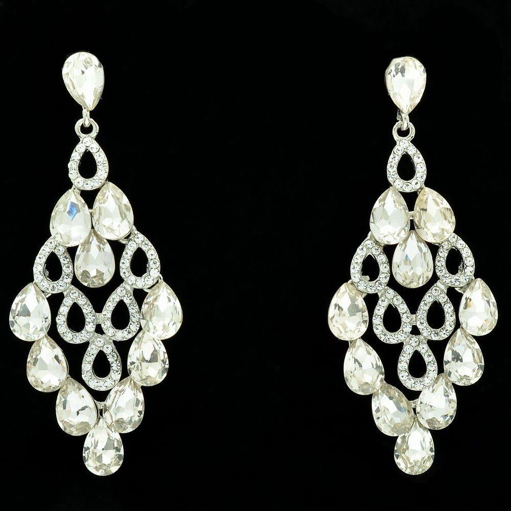 Women Bridal Flower Drop Pierced Dangle Earring Clear Rhinestone Crystal 123638