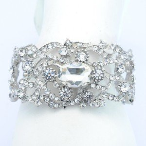 Bridal Wedding Floral Flower Bracelet Chain W/ Clear Rhinestone Crystals